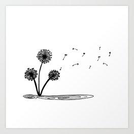 Dandilion wind Art Print