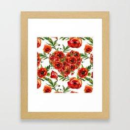 Poppy Heart pattern Framed Art Print