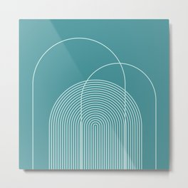 Geometric Lines in Teal Blue-Green Metal Print