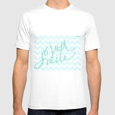 Just Smile - hand lettered calligraphy art print White MEDIUM Mens Fitted Tee