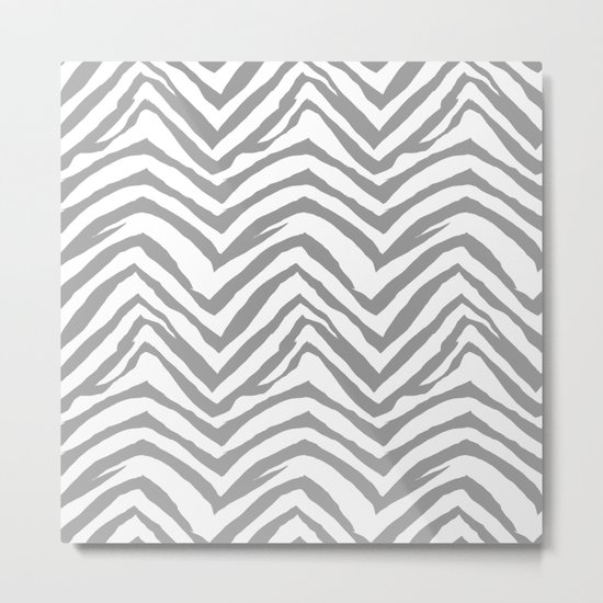 Chevron stripes zebra pattern minimal grey and white basic pattern nursery home decor Metal Print