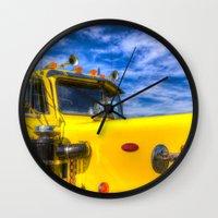 truck Wall Clocks featuring Peterbilt Truck by David Pyatt