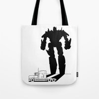 optimus prime Tote Bags featuring Optimus Prime by offbeatzombie