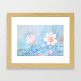 Blue Flowers Dream - Bodyart - Photography by Lana Chromium - beauty - woman - body - soul Framed Art Print