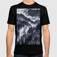Misty Forest Mountains MEDIUM Black Mens Fitted Tee