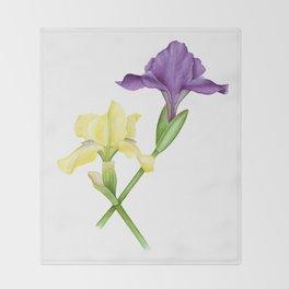 Watercolor irises Throw Blanket