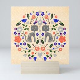 Cat Lovers Illustration // Folk Art Cat // Hand drawn Cat Design // Flower Design // Peach and Blue Mini Art Print
