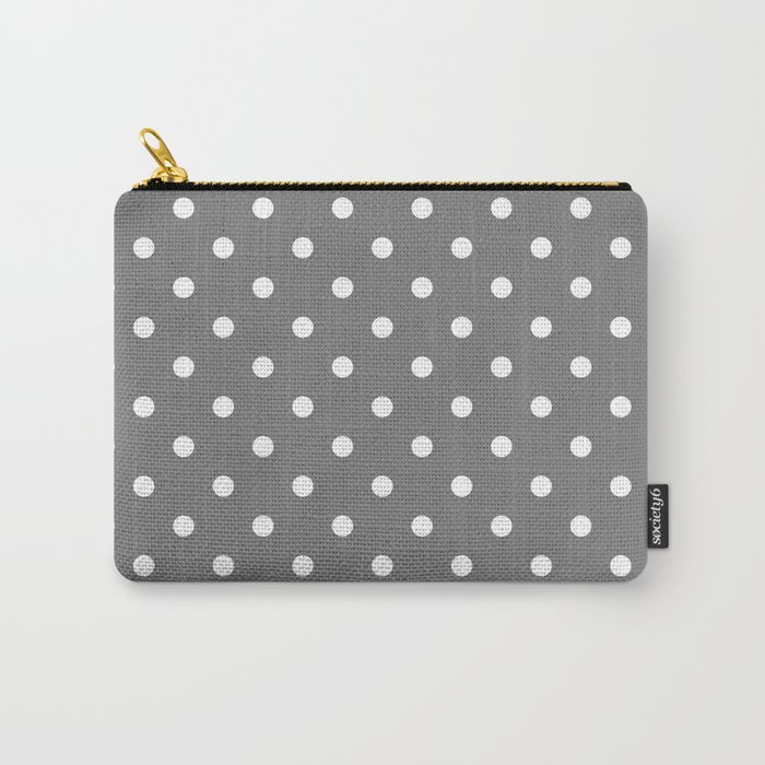 Grey & White Polka Dots Carry-All Pouch