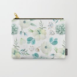 Trendy white blue teal hand painted watercolor flowers Carry-All Pouch