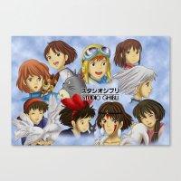 studio ghibli Canvas Prints featuring Studio Ghibli Girls by Art of Nym