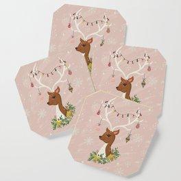 Christmas Deer in Blush Pink Coaster