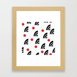 Mid-Century Modern Red Dots and Black Graphic Design Framed Art Print