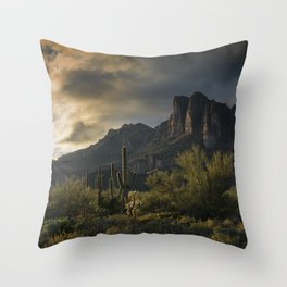 Rainy Day in the Superstitions Throw Pillow