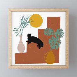 The Cat and The Sun II Framed Mini Art Print
