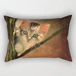 Little cute kitten on a tree Rectangular Pillow