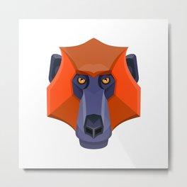 Baboon Head Flat Icon Metal Print