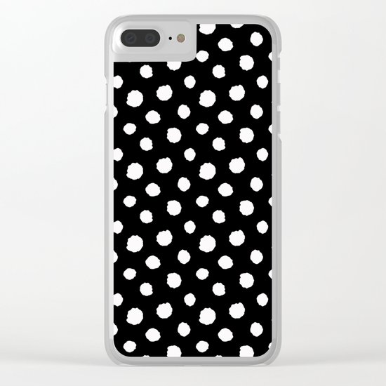 Minimal- white polka dots on black - Mix&Match with Simplicty of life Clear iPhone Case