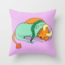 Dinku and Furret Throw Pillow
