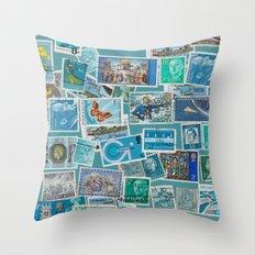Postage Bleu Throw Pillow