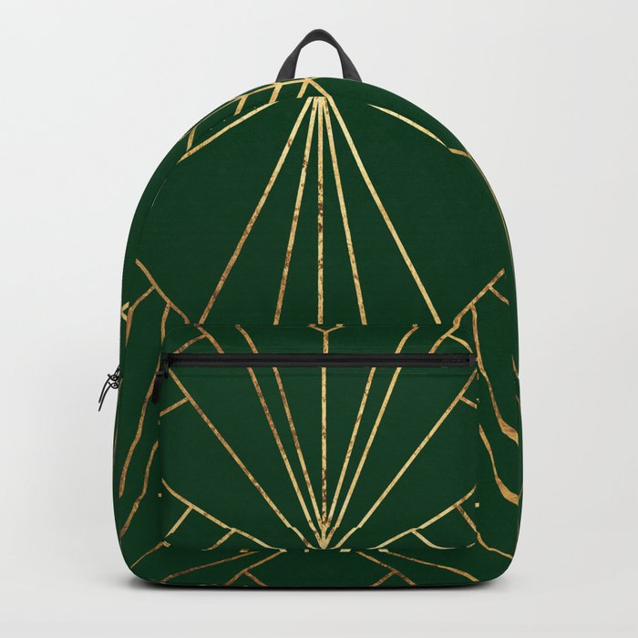 Art Deco in Gold & Green - Large Scale Backpack