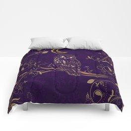 Golden Owl Crescent Moon Comforters