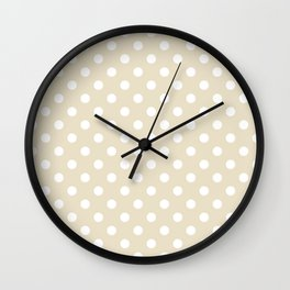 Small Polka Dots - White on Pearl Brown Wall Clock