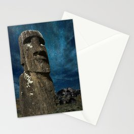 A Moai sculpture on the Easter Island. Stationery Cards