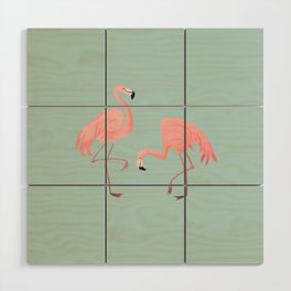 Flamingo Love Blue Wood Wall Art