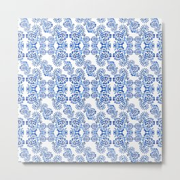 Watercolor abstract blue pattern on a white background . Metal Print