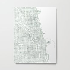 Map Chicago city watercolor map Metal Print