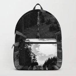 adventure park hög schneisenfeger coaster alps sfl tyrol austria europe black white Backpack
