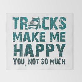 Trucks make me happy Throw Blanket