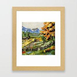 Found Tapestry Landscape Framed Art Print