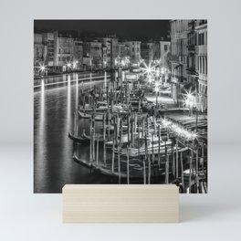 VENICE View from Rialto Bridge | Monochrome Mini Art Print