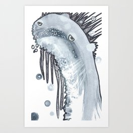 Monster rising from the water: Walter Wormwood III Art Print