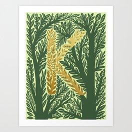 Botanical Metallic Monogram - Letter K Art Print