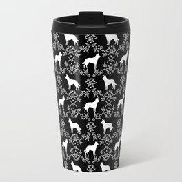 Australian Kelpie dog pattern silhouette black and white florals minimal dog breed art gifts Travel Mug