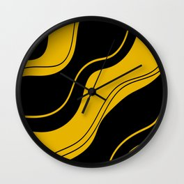 Uplifting abstract yellow black wavy lines Wall Clock