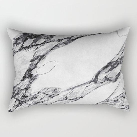 Black and White Marble Rectangular Pillow