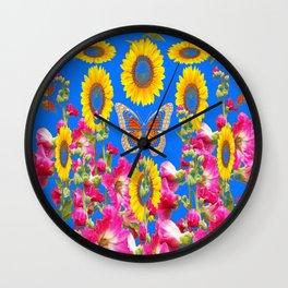 ASSORTED FLOWERS MODERN BLUE ART Wall Clock