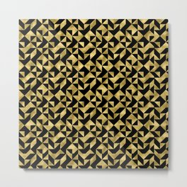 Black and gold geometric abstract pattern- Luxury design for your home Metal Print