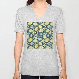 Lemon Pattern Green Unisex V-Neck