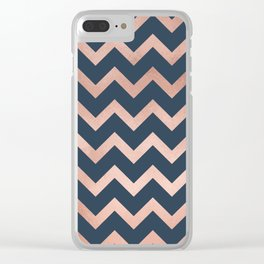 Blue & Pink Chevron Clear iPhone Case
