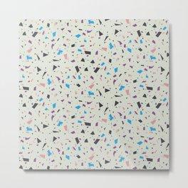 Muted Colors Terrazzo - Granite Marble Texture - Stylish Green Geometric Pattern Metal Print