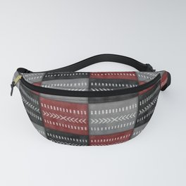 Tribal Patchwork in black, red and gray Fanny Pack