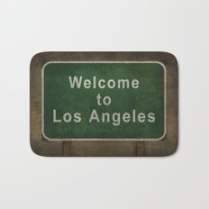Welcome to Los Angeles, road sign illustration Bath Mat