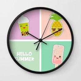Hello Summer bright tropical card, pineapple, smoothie cup, ice cream, bubble tea. Kawaii cute face. Wall Clock