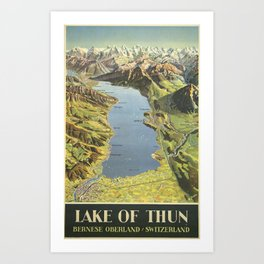 Vintage Travel Poster -Lake of Thun, Bernese Oberland, Switzerland Art Print