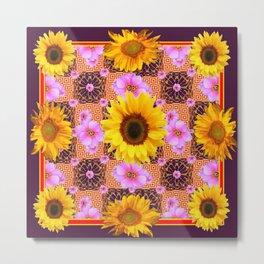 Western Style Burgundy Sunflower Art in Pink Metal Print