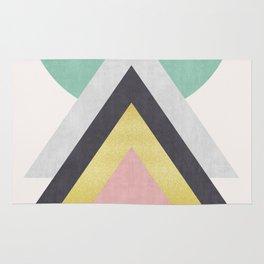 Green and gold geometric art Rug